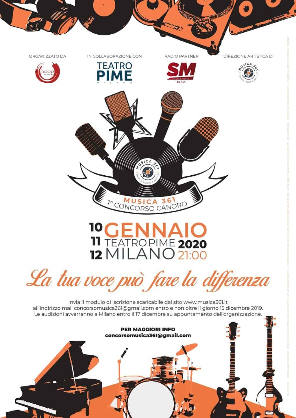 Concorso Canoro Musica361: la prima edizione a Milano 1